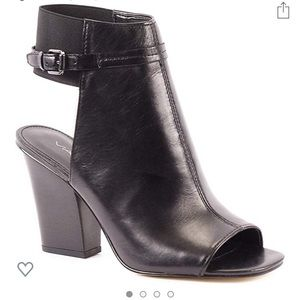 Leather Open-Toe Bootie